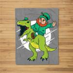 Leprechaun Riding a T-Rex Dinosaur Funny St Patricks Day Fleece Blanket