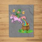 Leprechaun Riding A Unicorn - Funny St Patricks Day Fleece Blanket