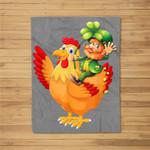 Leprechaun Riding Chicken St Patrick's Day Gift Fleece Blanket