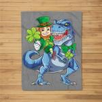 Leprechaun Riding Dinosaur St Patricks Day Boys Kids T rex Fleece Blanket
