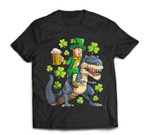 Leprechaun Riding Dinosaur T rex St Patricks Day Men Beer T-Shirt