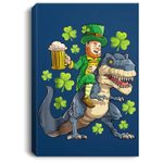 Leprechaun Riding Dinosaur T rex St Patricks Day Men Beer Portrait Canvas