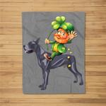 Leprechaun Riding Great Dane Dog St Patricks Day Fleece Blanket
