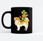 Leprechaun Riding Japanese Chin Dog St Patricks Day Black Mugs