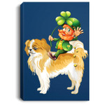 Leprechaun Riding Japanese Chin Dog St Patricks Day Portrait Canvas