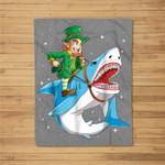 Leprechaun Riding Shark St Patricks Day Boys Kids Men Gifts Fleece Blanket