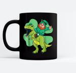 Leprechaun Riding T Rex Dinosaur St Patricks Day Gift Black Mugs
