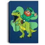 Leprechaun Riding T Rex Dinosaur St Patricks Day Gift Portrait Canvas