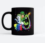 Leprechaun Riding Unicorn St Patricks Day Girls Lepricorn Black Mugs