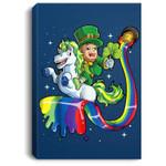 Leprechaun Riding Unicorn St Patricks Day Girls Lepricorn Portrait Canvas