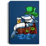 Leprechaun Shark Pirate St Patricks Beer Irish Party Portrait Canvas