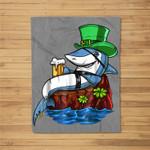 Leprechaun Shark Pirate St Patricks Beer Irish Party Fleece Blanket