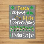 Leprechaun St Patricks Day Kindergarten Teacher Fleece Blanket