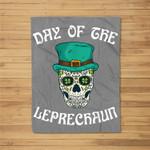 Leprechaun Sugar Skull Funny St. Patricks Day Gift Fleece Blanket