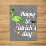 Leprechaun-Flamingo Happy-St-Patrick's-Day Fleece Blanket