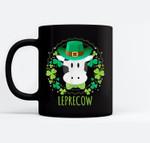 Leprecow Leprechaun Cow Clover Irish Farmer St Patricks Day Black Mugs