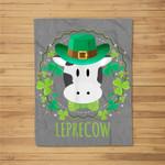 Leprecow Leprechaun Cow Clover Irish Farmer St Patricks Day Fleece Blanket