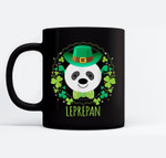 Leprepan Leprechaun Panda Clover Irish St Patricks Day Black Mugs