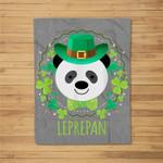 Leprepan Leprechaun Panda Clover Irish St Patricks Day Fleece Blanket