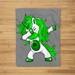 Lepricorn Dabbing Unicorn Leprechaun St Patricks Day Fleece Blanket