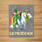 Lepricorn Leprechaun Riding Unicorn St Patricks Day Fleece Blanket
