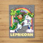 Lepricorn Leprechaun Unicorn St Patricks Day Girls Fleece Blanket