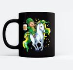 Lepricorn Leprechaun Unicorn St Patricks Day Women Men Beer Black Mugs