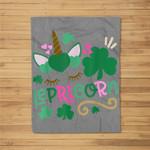 Lepricorn St Patrick's Day Funny Unicorn Leprechaun Fleece Blanket