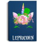 Lepricorn Unicorn Girls Saint Patricks St Paddys Day Portrait Canvas