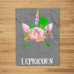 Lepricorn Unicorn Girls Saint Patricks St Paddys Day Fleece Blanket