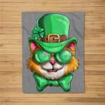 Lepurrchaun St. Patrick's Day Cat Leprechaun Paddy Day Fleece Blanket