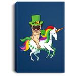 Leprechaun Pug Dog Riding Unicorn St Patricks Day Portrait Canvas