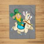 Leprechaun Riding Llama St. Patrick's Day Elf Funny Gift Fleece Blanket