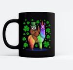 Leprechaun Sloth Riding Llama Unicorn St Patricks Day Black Mugs