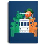 Leprechaun-Jeep St Patricks Day Mens Short Sleeve Portrait Canvas