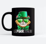 Lepurrchaun St. Patrick's Day Cat Leprechaun Shamrock Women Black Mugs