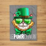 Lepurrchaun St. Patrick's Day Cat Leprechaun Shamrock Women Fleece Blanket