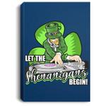 Let the Shenanigans Begin! DJ Saint Patrick Humor Portrait Canvas