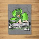 Let the Shenanigans Begin! DJ Saint Patrick Humor Fleece Blanket