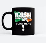 Irish Breathalyzer Blow Here Irish Flag St. Patricks Day Gag Black Mugs