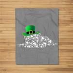 Irish English Bulldog Shamrocks Green Hat St Patricks Day Fleece Blanket