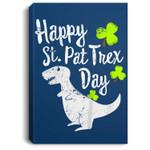 Kids Happy St. Pat T-rex Day Cute St. Patrick's Pun Gift Portrait Canvas
