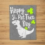Kids Happy St. Pat T-rex Day Cute St. Patrick's Pun Gift Fleece Blanket