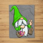 St Patricks Day Hippie Gnome Rainbow Shamrock Clover Gift Fleece Blanket