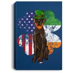 St Patricks Day Irish American Flag Black Great Dane Dog Portrait Canvas