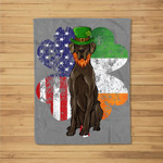 St Patricks Day Irish American Flag Black Great Dane Dog Fleece Blanket