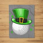 St Patricks Day Leprechaun Hat Shamrock Irish Golf Fleece Blanket