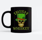 St Patrick's Day Irish Whiskey Skull In Green Top Hat Black Mugs