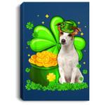 St Patrick's Day Jack Russell Terrier Shamrock Pet Dog Lover Portrait Canvas