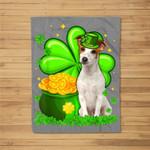 St Patrick's Day Jack Russell Terrier Shamrock Pet Dog Lover Fleece Blanket